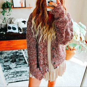 Oversized marled multi color slouchy cardigan p1